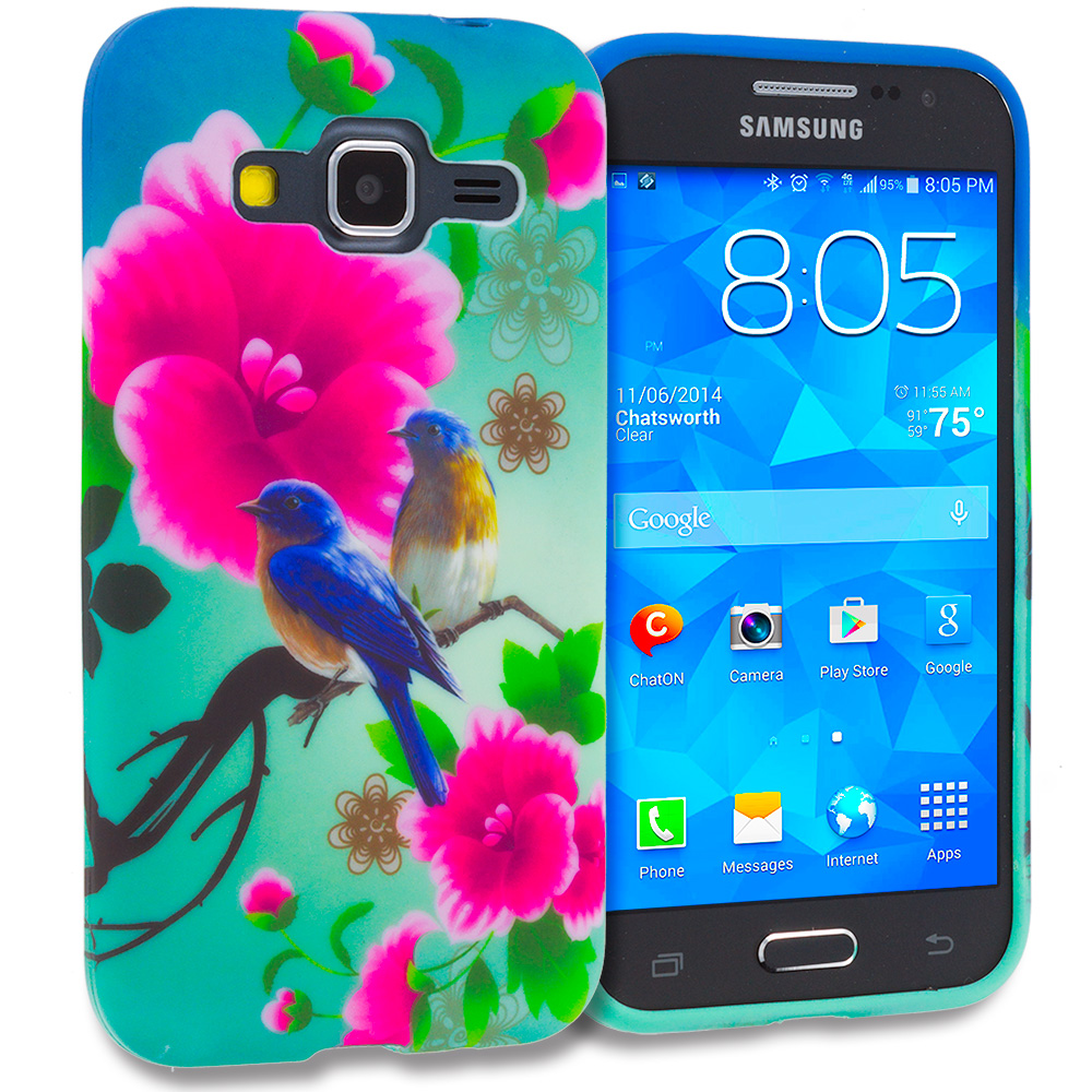 Samsung Galaxy Prevail LTE Core Prime G360P Blue Bird Pink Flower TPU Design Soft Rubber Case Cover