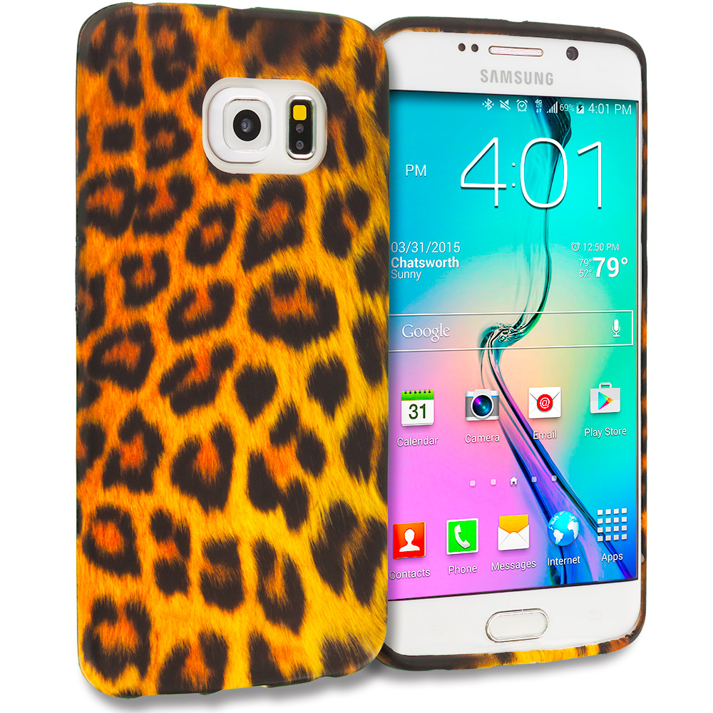 Samsung Galaxy S6 Edge Leopard Print TPU Design Soft Rubber Case Cover
