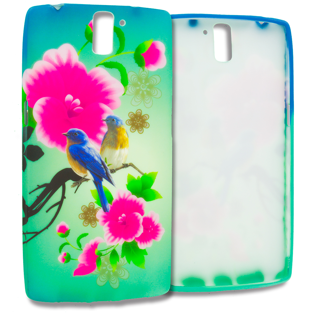 OnePlus One Blue Bird Pink Flower TPU Design Soft Rubber Case Cover
