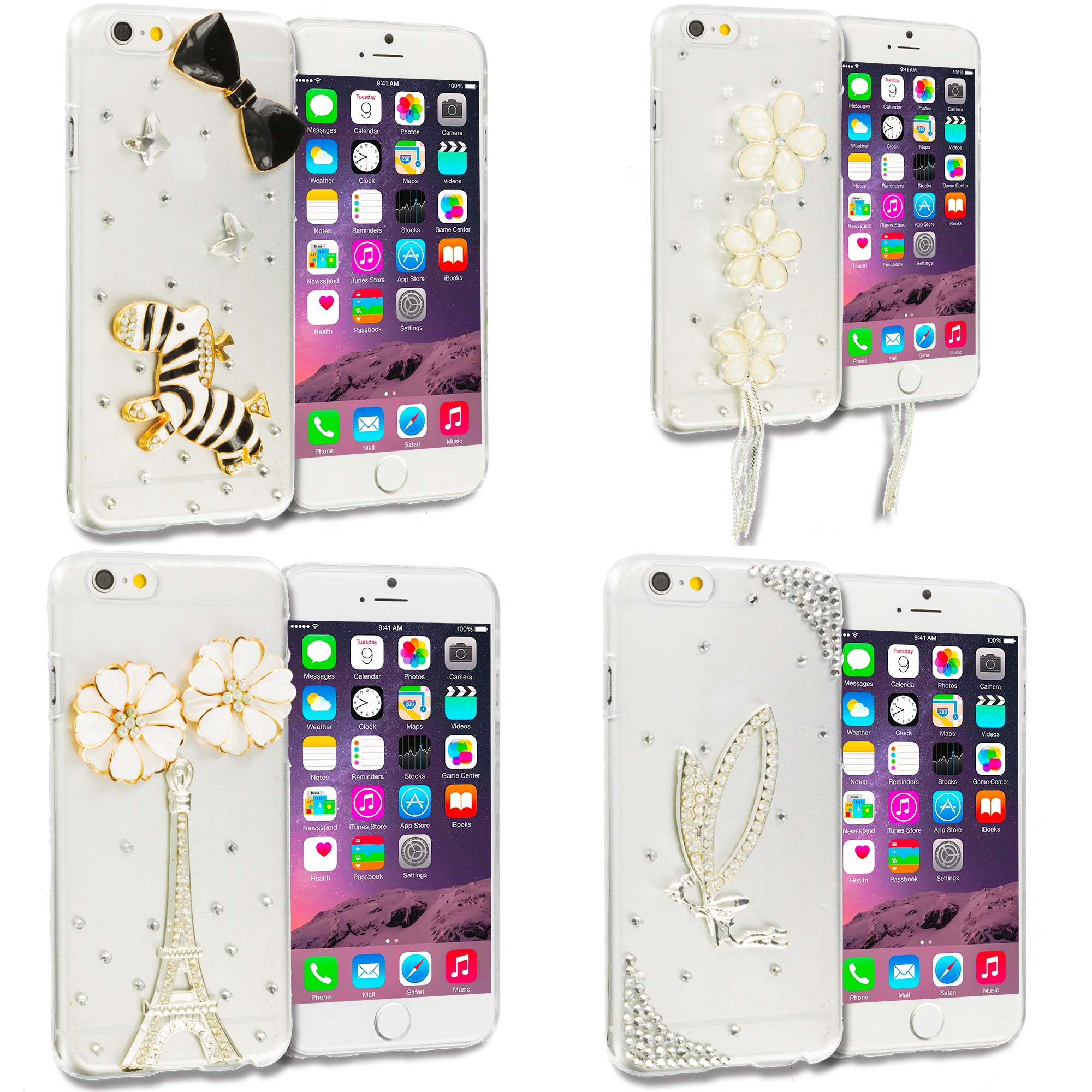 Apple iPhone 6 Plus 6S Plus (5.5) 4 in 1 Combo Bundle Pack - Bling Rhinestone Case Cover