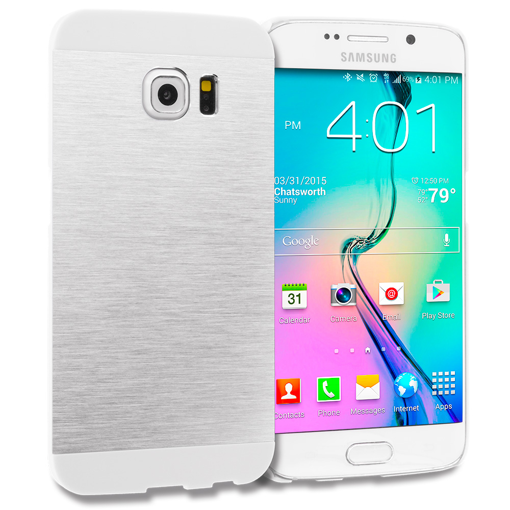 Samsung Galaxy S6 Edge Silver / White Hybrid Luxury Aluminum Hard Case Cover