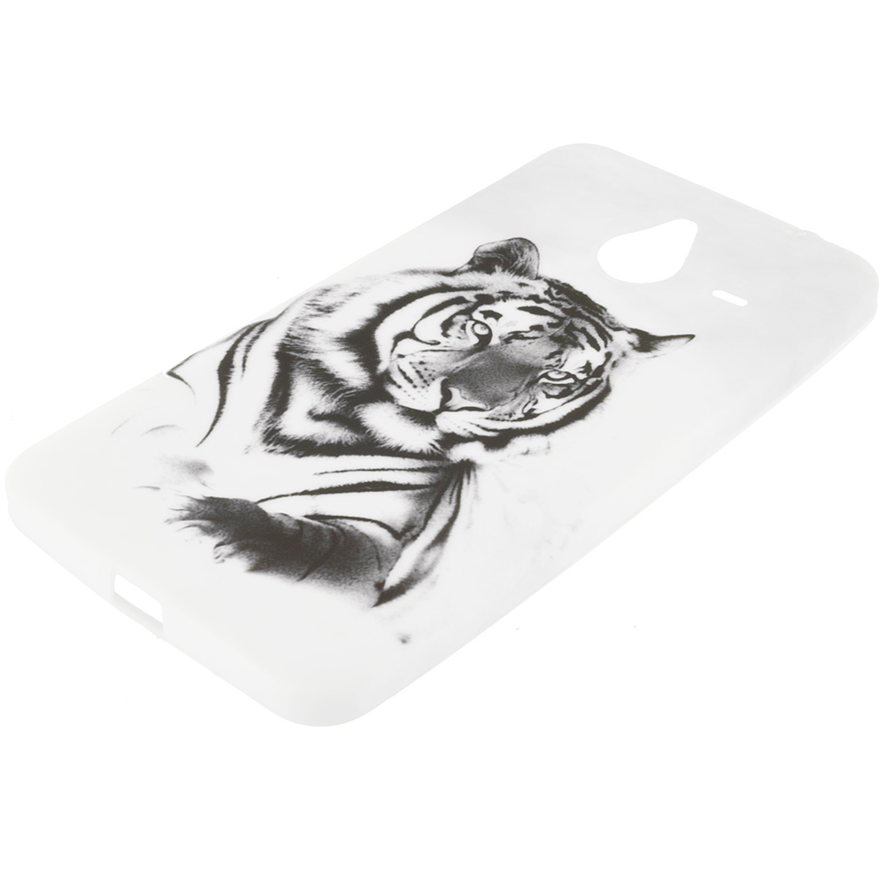 Microsoft Lumia 640 XL White Tiger TPU Design Soft Rubber Case Cover