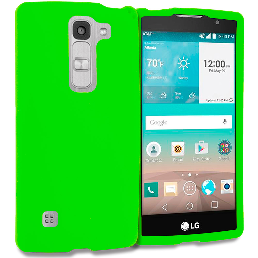 LG Escape 2 Logos Spirit LTE Neon Green Hard Rubberized Case Cover