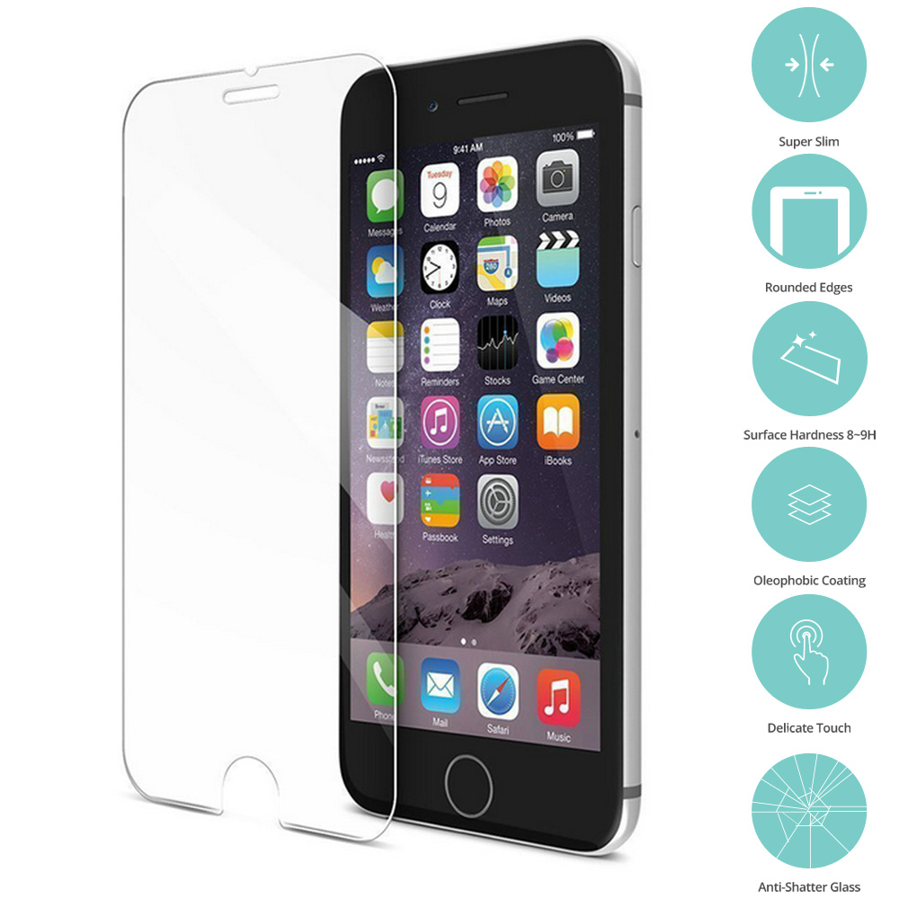 Apple iPhone 6 Plus 6S Plus (5.5) Clear Tempered Glass Film Screen Protector Clear