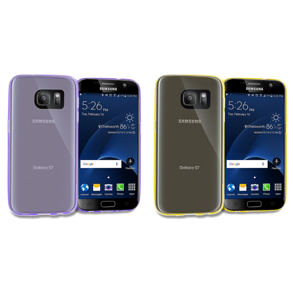 Samsung Galaxy S7 Combo Pack : Purple TPU Rubber Skin Case Cover