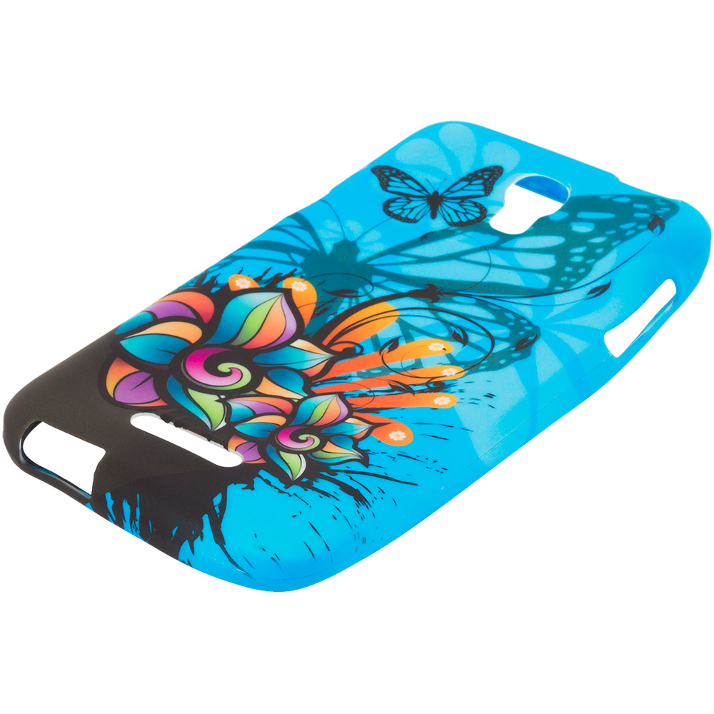 Alcatel One Touch Elevate Blue Butterfly Flower TPU Design Soft Rubber Case Cover