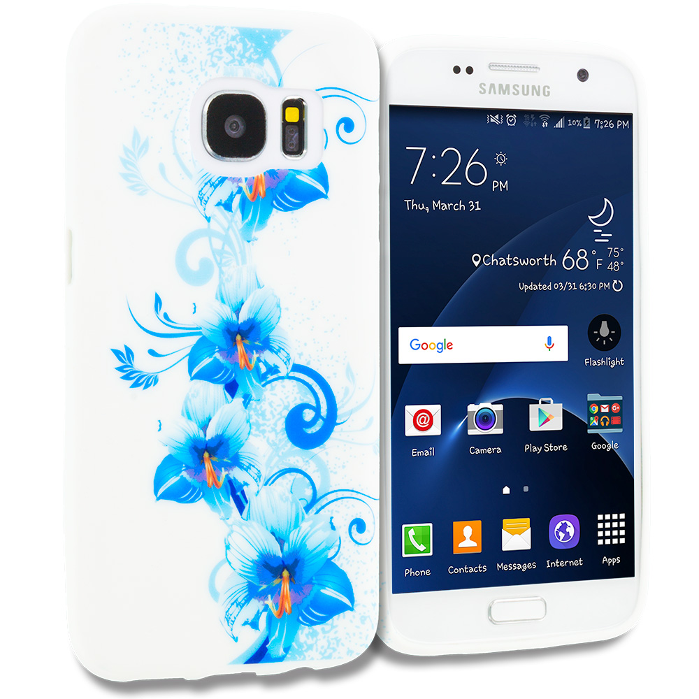 Samsung Galaxy S7 Combo Pack : Blue Flowers TPU Design Soft Rubber Case Cover : Color Blue White Flower