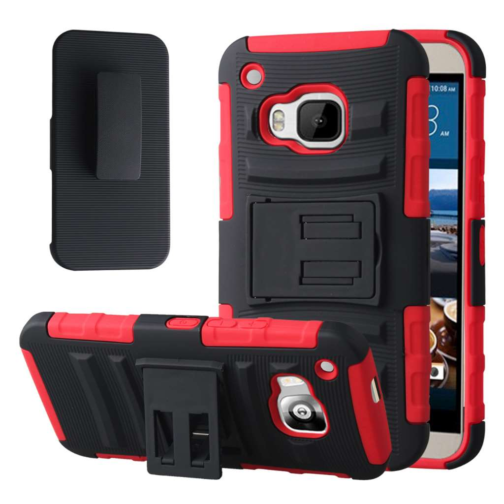 HTC One M9 - Red MPERO IMPACT XT - Kickstand Case Cover