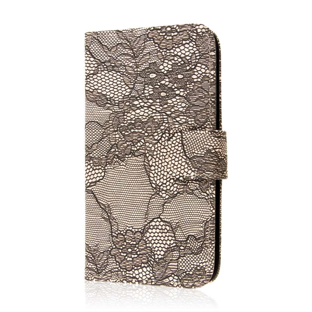 Google Nexus 6 - Black Lace MPERO FLEX FLIP Wallet Case Cover