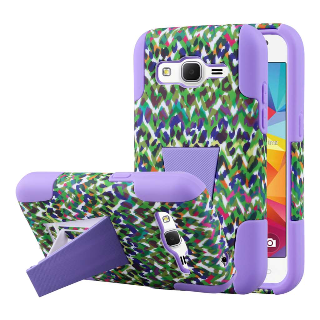 Samsung Galaxy Prevail LTE - Purple Leopard MPERO IMPACT X - Stand Case