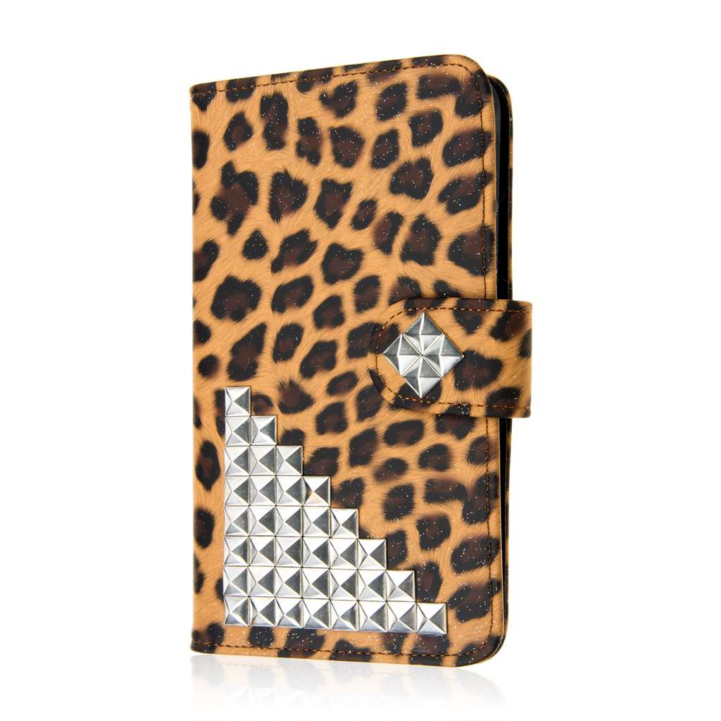 Samsung Galaxy Note Edge - Studded Leopard MPERO FLEX FLIP Wallet Case Cover
