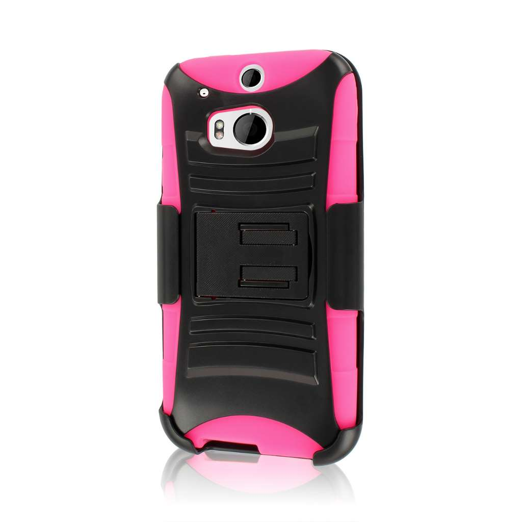 HTC One M8- HOT PINK MPERO IMPACT XT - Kickstand Case Cover and Belt Holster