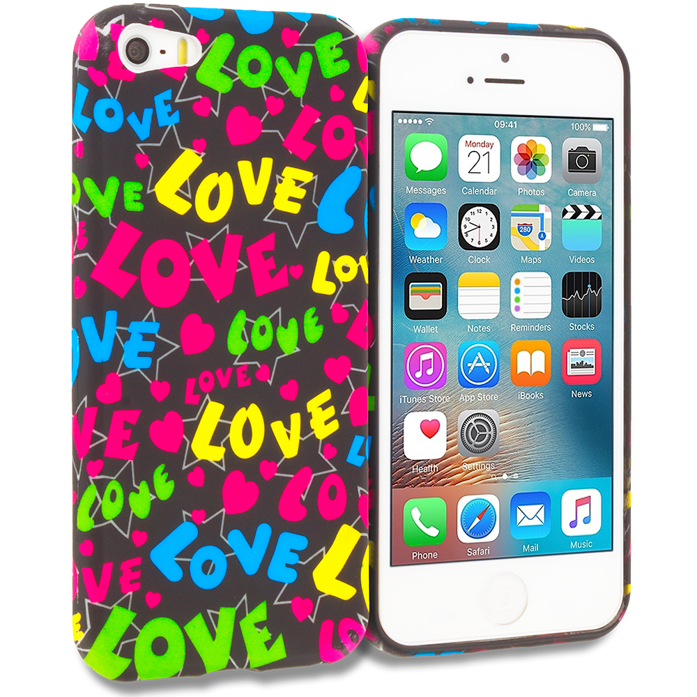 Apple iPhone 5/5S/SE Combo Pack : Colorful Love on Black TPU Design Soft Rubber Case Cover : Color Colorful Love on Black