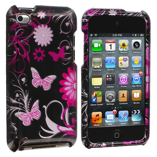 Apple iPod Touch 4th Generation Pink Butterfly Flowers Design Crystal Hard Case Cover