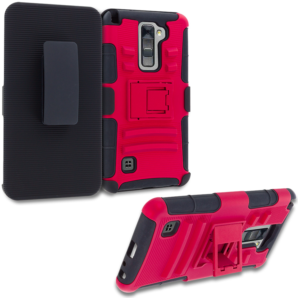 LG G Stylo 2 LS775 Red Hybrid Heavy Duty Rugged Case Cover with Belt Clip Holster