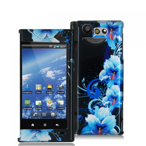 Kyocera Echo M9300 Blue Flowers Design Crystal Hard Case Cover