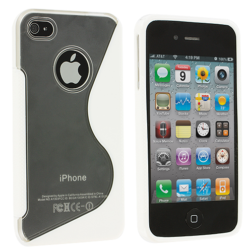 Apple iPhone 4 / 4S Clear / White S-Line TPU Rubber Skin Case Cover