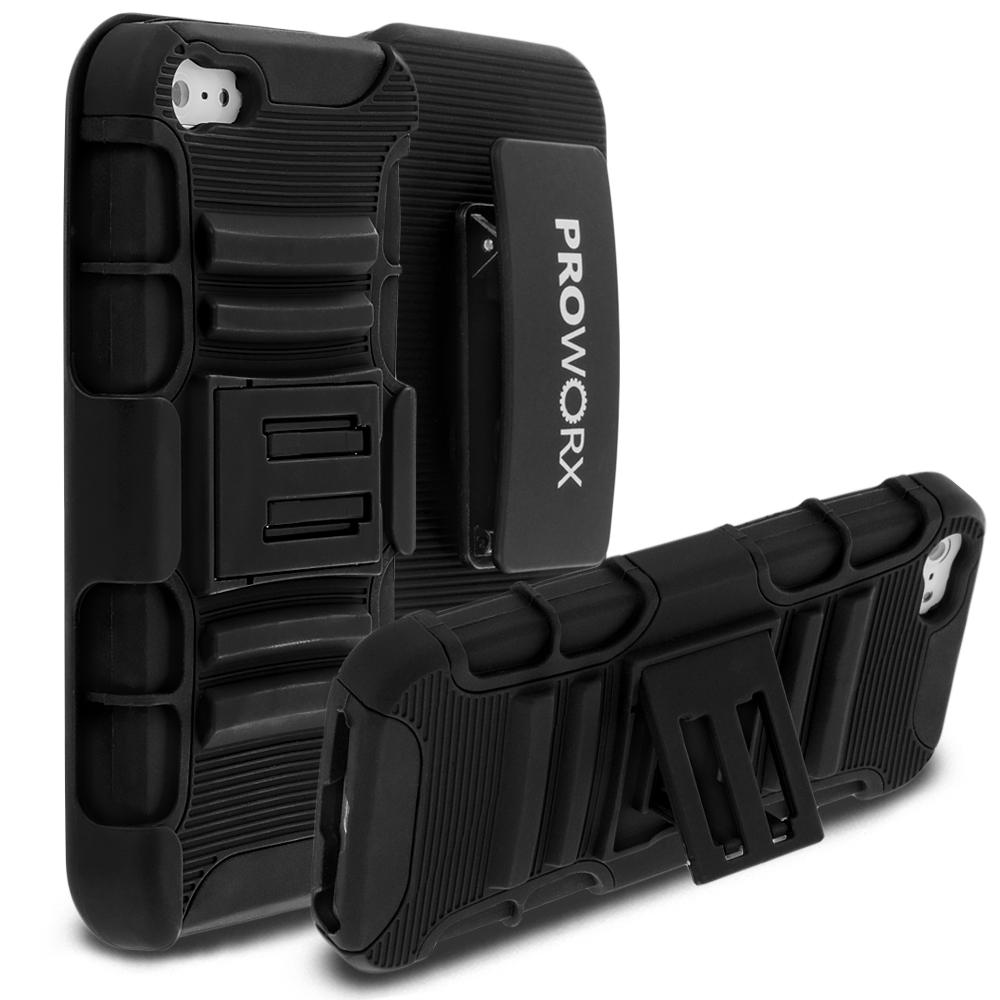 Apple iPhone 5C ProWorx Black Heavy Duty Shock Absorption Armor Defender Case Cover With Belt Clip Holster