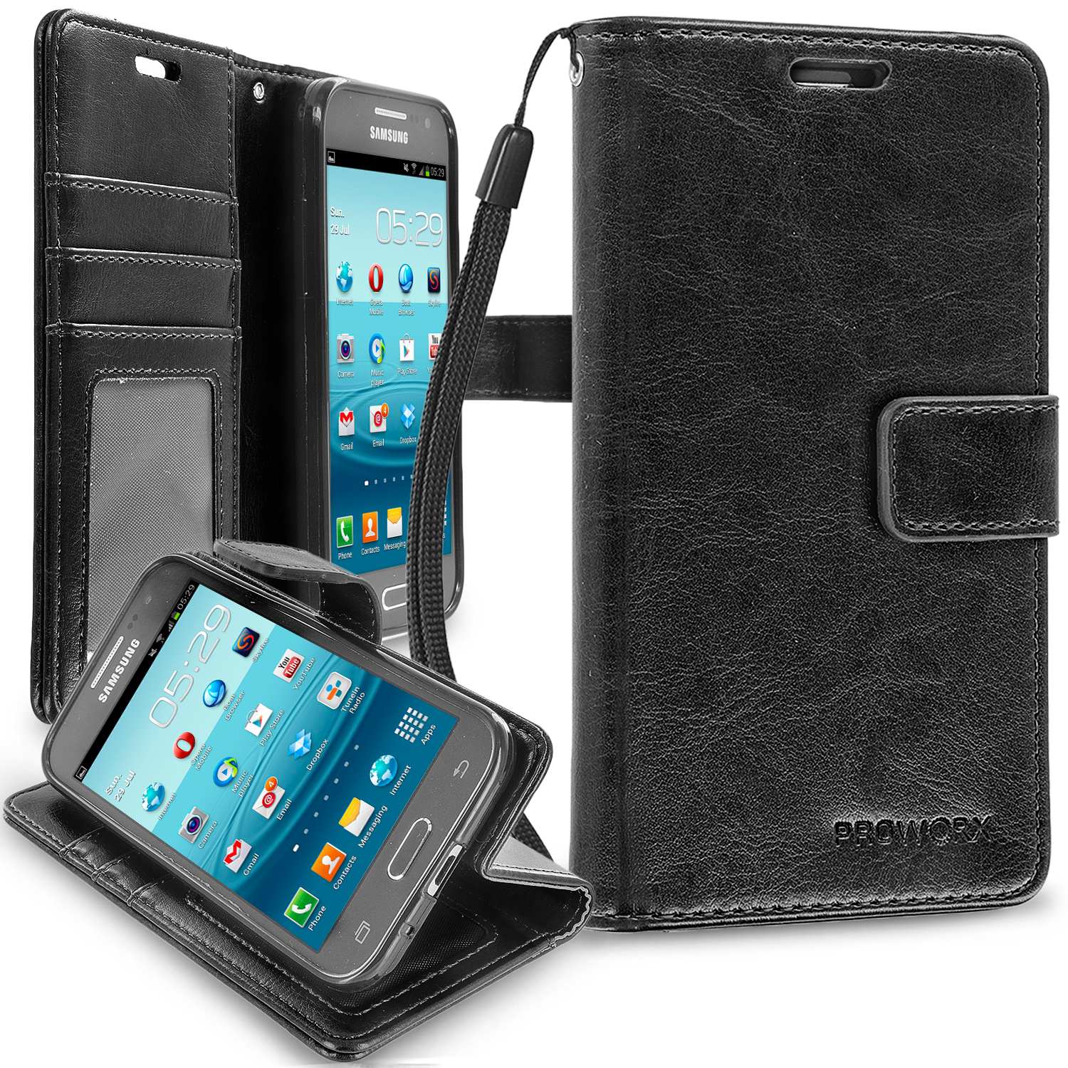 Samsung Galaxy Prevail LTE Core Prime G360P Black ProWorx Wallet Case Luxury PU Leather Case Cover With Card Slots & Stand