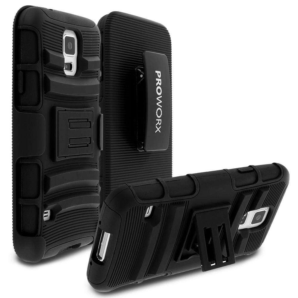 Samsung Galaxy S5 Black ProWorx Heavy Duty Shock Absorption Armor Defender Case Cover With Belt Clip Holster