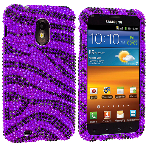 Samsung Epic Touch 4G D710 Sprint Galaxy S2 Black / Purple Zebra Bling Rhinestone Case Cover