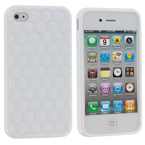 Apple iPhone 4 / 4S 2 in 1 Combo Bundle Pack - Yellow White Hexagon TPU Rubber Skin Case Cover : Color White  Hexagon Outside