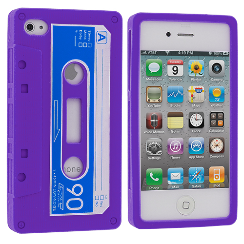 Apple iPhone 4 / 4S Purple Cassette Silicone Soft Skin Case Cover
