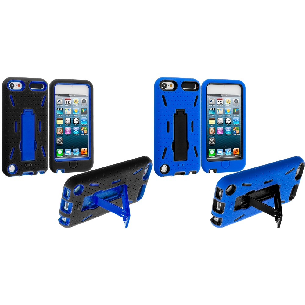 Apple iPod Touch 5th 6th Generation 2 in 1 Combo Bundle Pack - Black / Blue Hybrid Heavy Duty Hard/Soft Case Cover with Stand