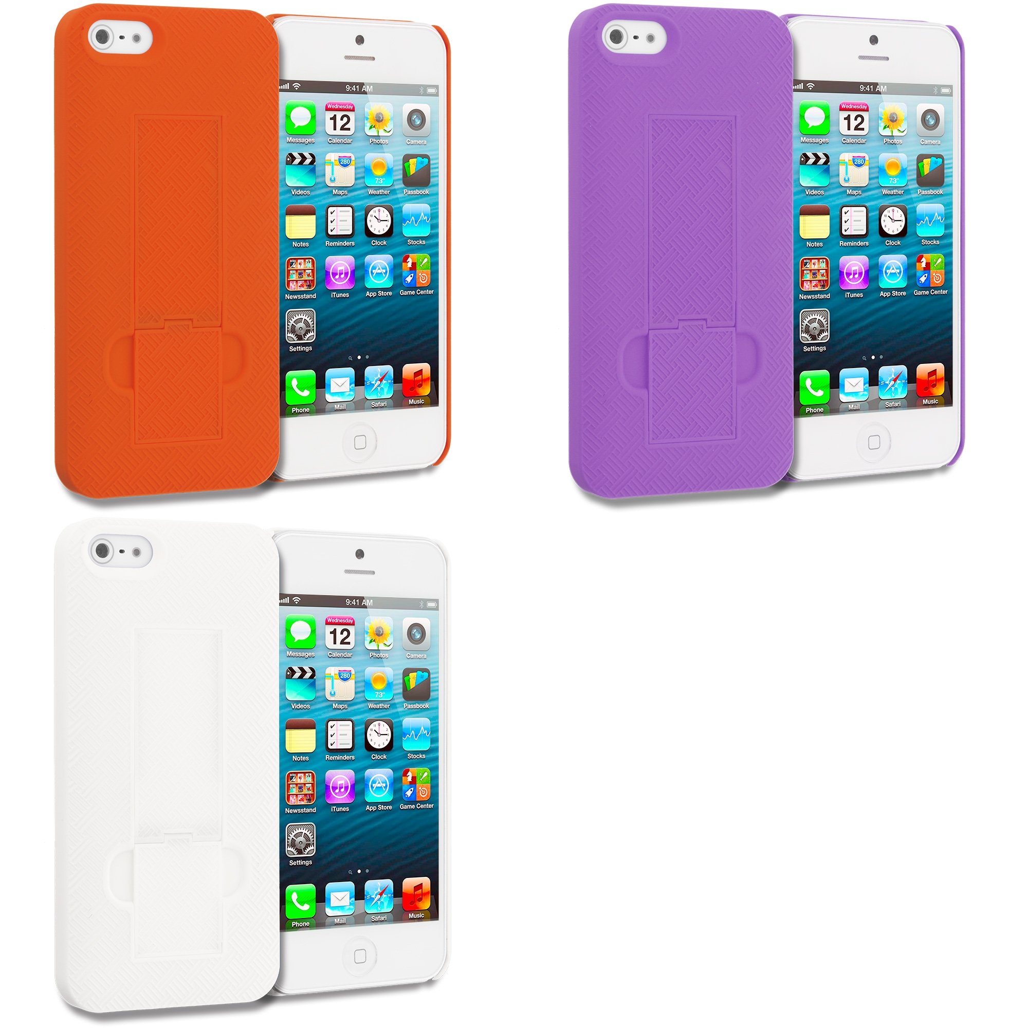 Apple iPhone 5/5S/SE Combo Pack : Orange Grid Texture w/ Stand Hard Rubberized Back Cover Case