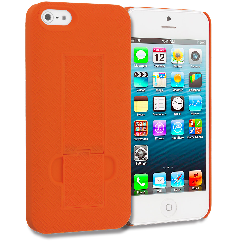 Apple iPhone 5/5S/SE Orange Grid Texture w/ Stand Hard Rubberized Back Cover Case