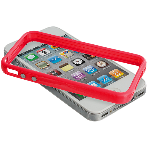 Apple iPhone 4 / 4S Solid Red TPU Bumper with Metal Buttons
