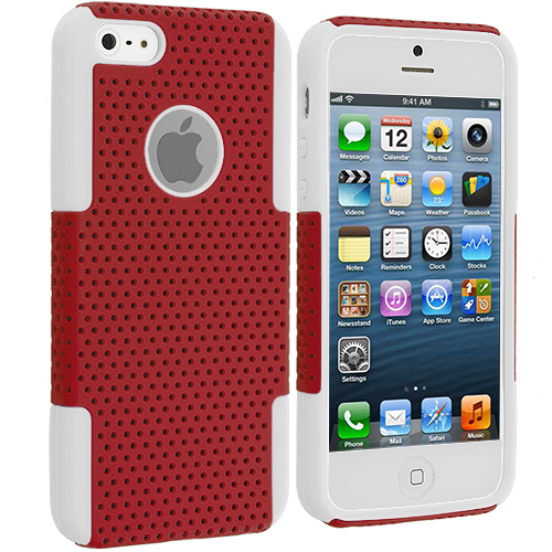 Apple iPhone 5/5S/SE Combo Pack : White / Purple Hybrid Mesh Hard/Soft Case Cover : Color White / Red