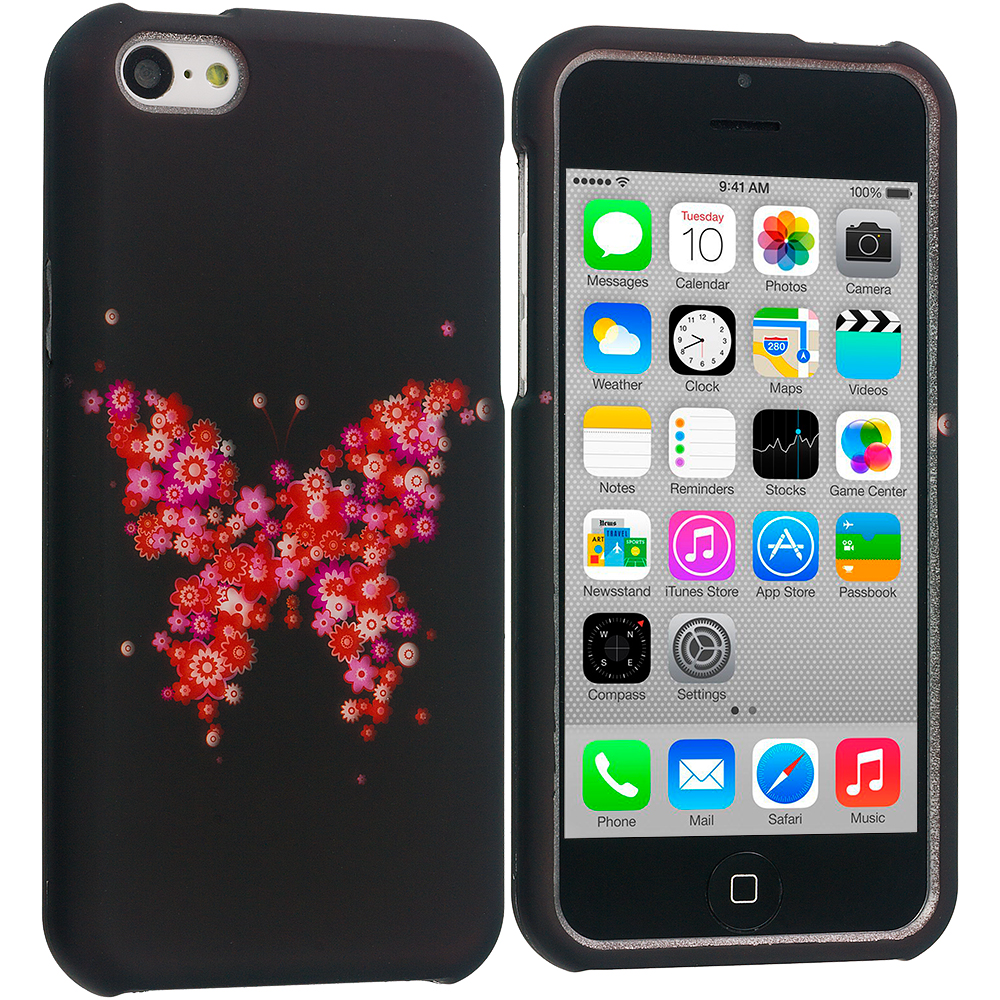 Apple iPhone 5C Pink Flower Butterfly Hard Rubberized Design Case Cover