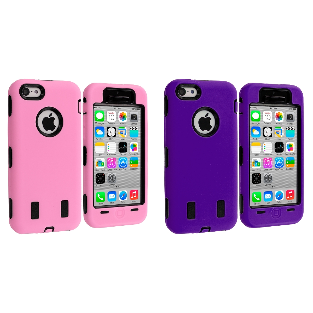 Apple iPhone 5C 2 in 1 Combo Bundle Pack - Pink / Purple Hybrid Deluxe Hard/Soft Case Cover
