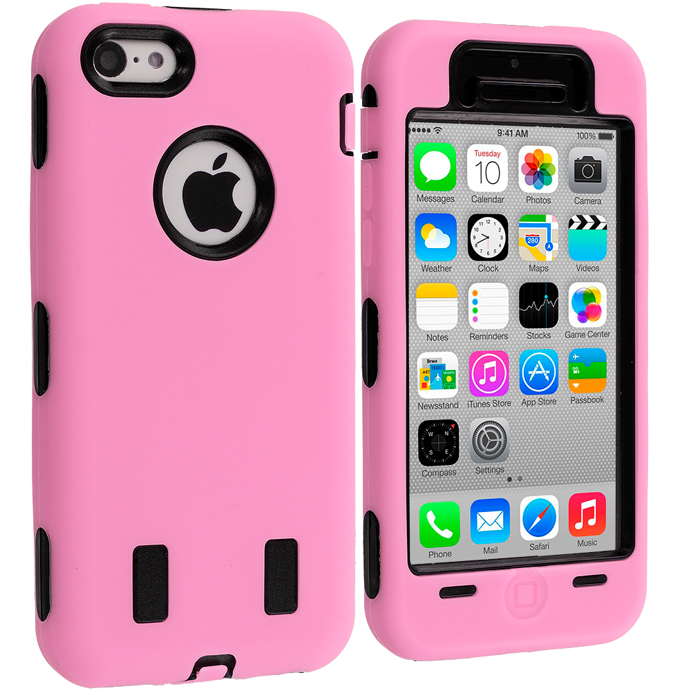 Apple iPhone 5C 2 in 1 Combo Bundle Pack - Pink / Purple Hybrid Deluxe Hard/Soft Case Cover : Color Pink / Black
