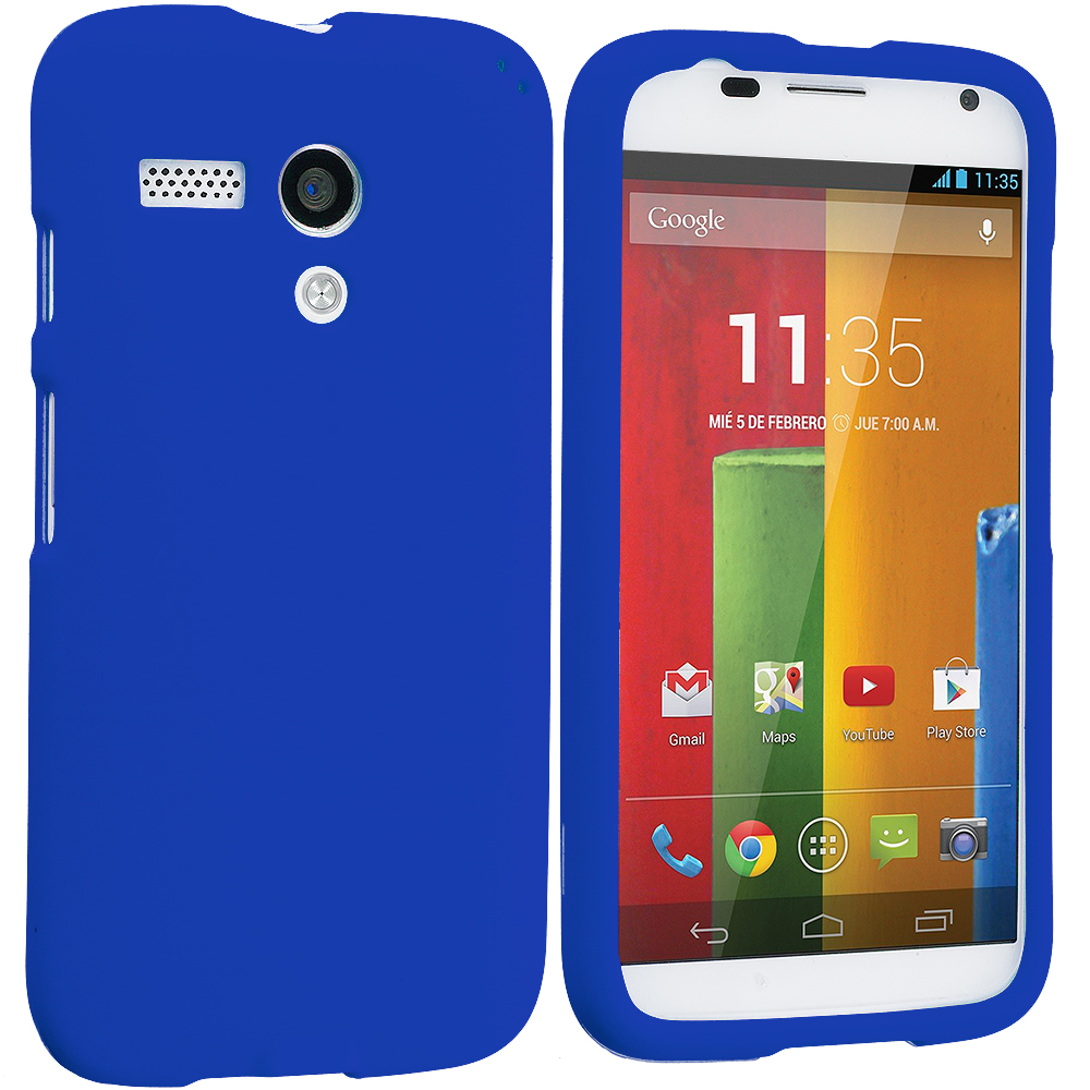 Motorola Moto G 2 in 1 Combo Bundle Pack - Black Blue Hard Rubberized Case Cover : Color Blue