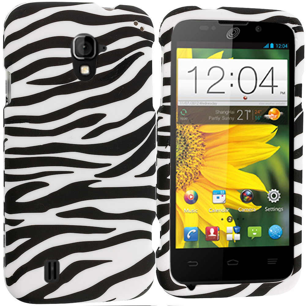 ZTE Majesty Z796C Black/White Zebra Hard Rubberized Design Case Cover
