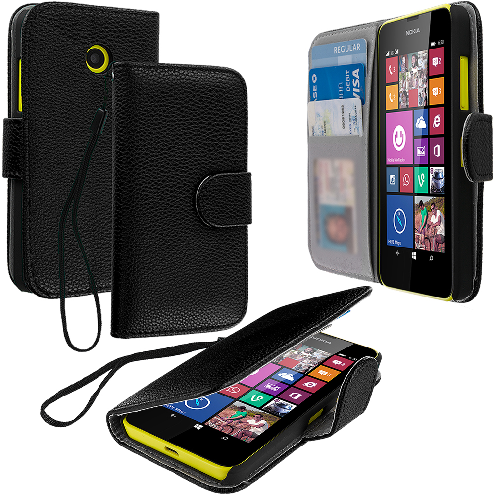 Nokia Lumia 630 635 Black Leather Wallet Pouch Case Cover with Slots