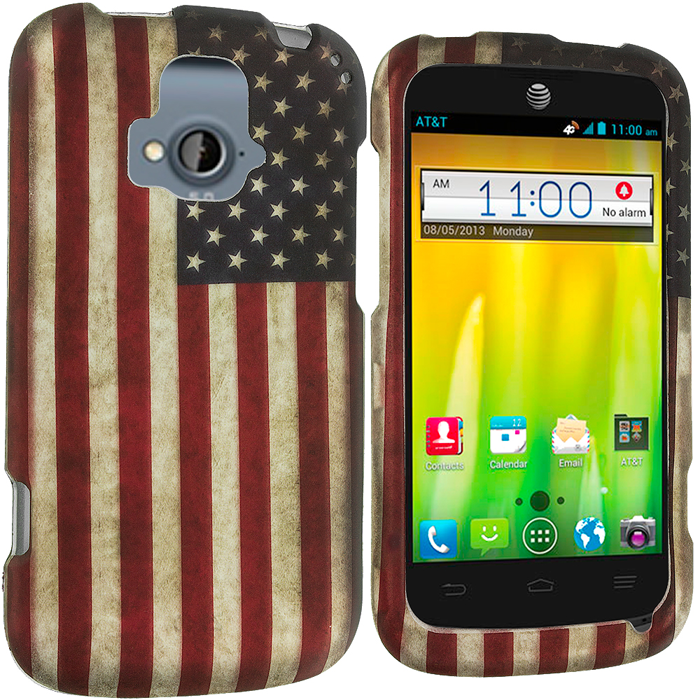 ZTE Radiant USA Flag 2D Hard Rubberized Design Case Cover