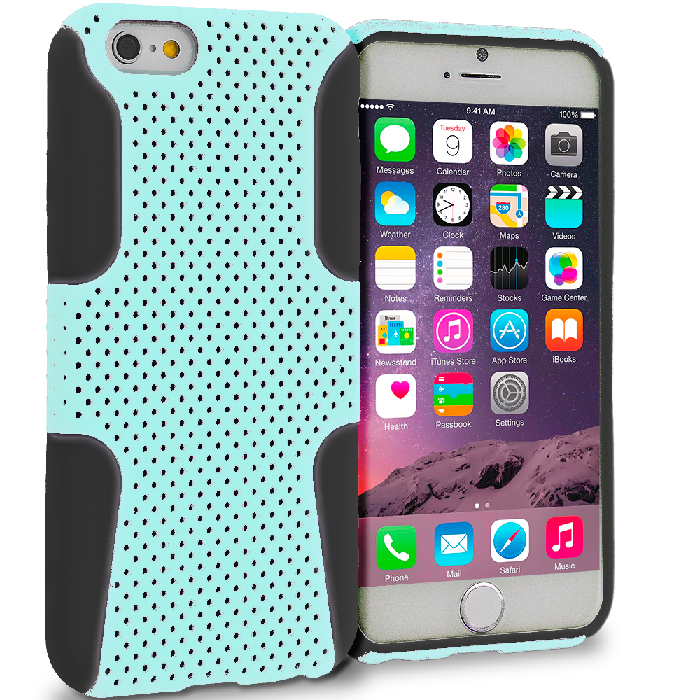 Apple iPhone 6 5 in 1 Bundle - Hybrid Mesh Hard/Soft Case Cover : Color Black / Baby Blue