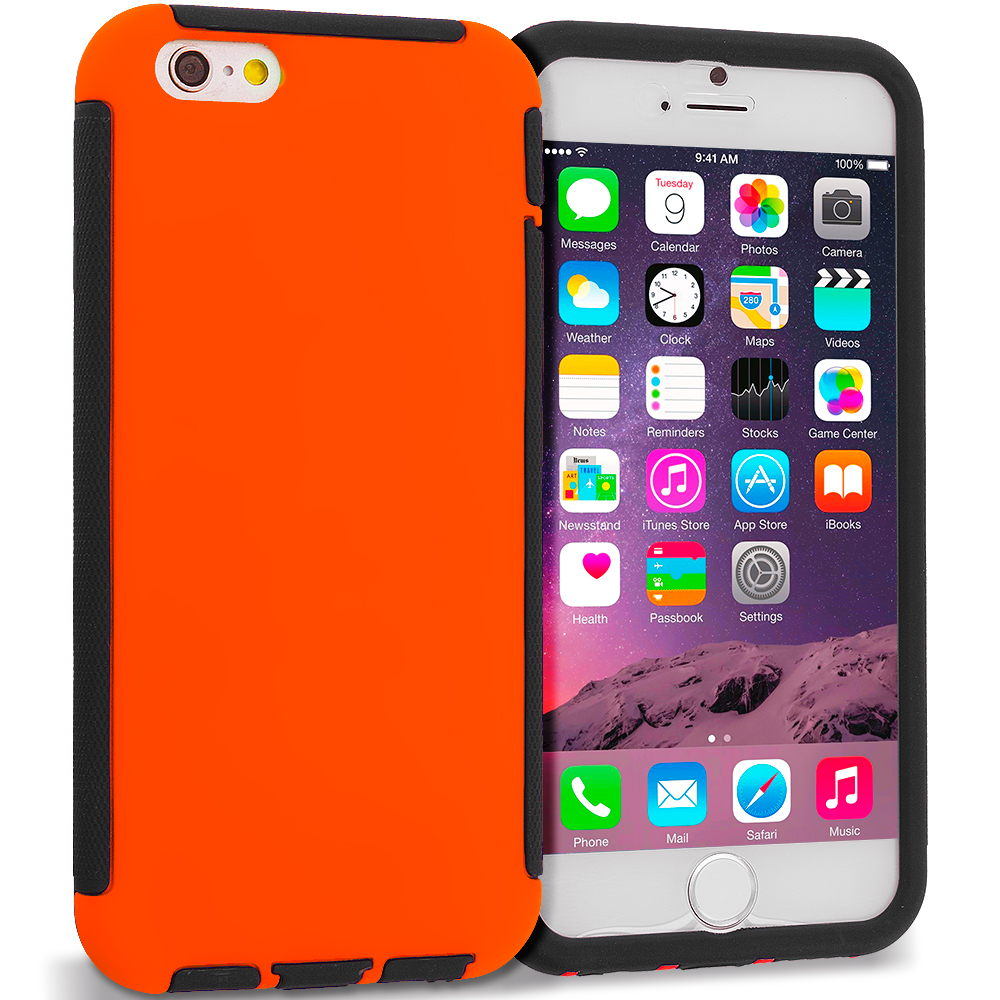 Apple iPhone 6 6S (4.7) Black / Orange Hybrid Hard TPU Shockproof Case Cover With Built in Screen Protector