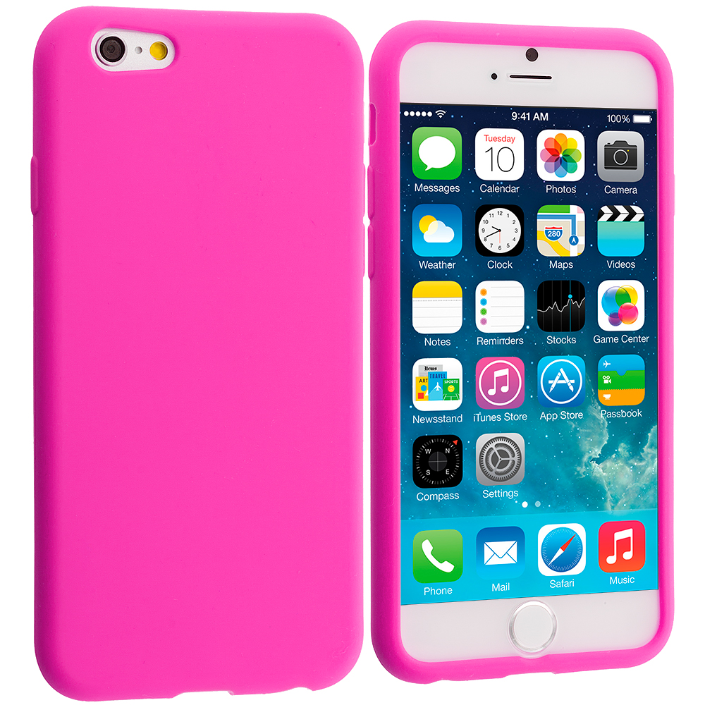 Apple iPhone 6 Plus 6S Plus (5.5) 5 in 1 Combo Bundle Pack - Silicone Soft Skin Rubber Case Cover : Color Hot Pink