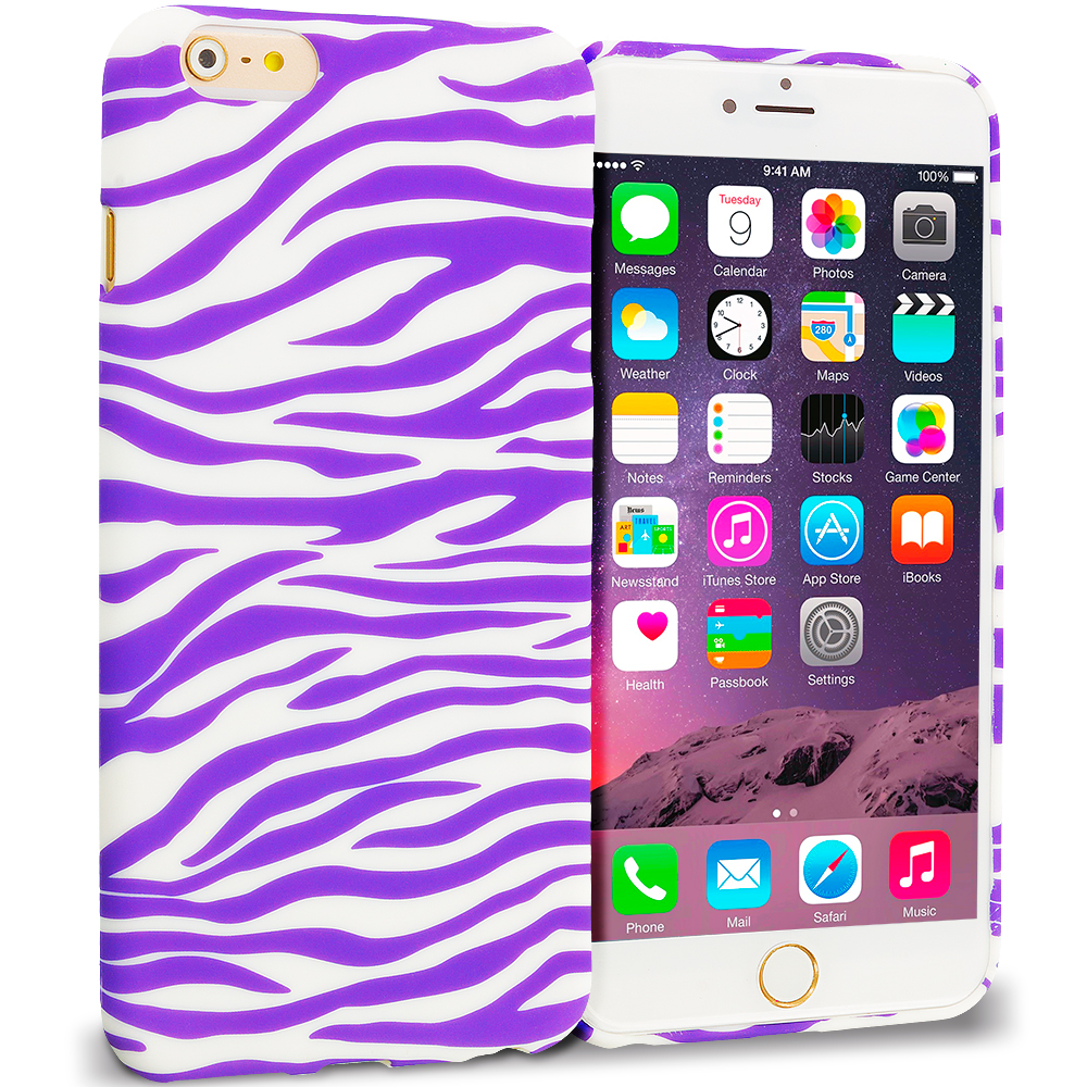 Apple iPhone 6 Plus Purple / White Zebra TPU Design Soft Rubber Case Cover