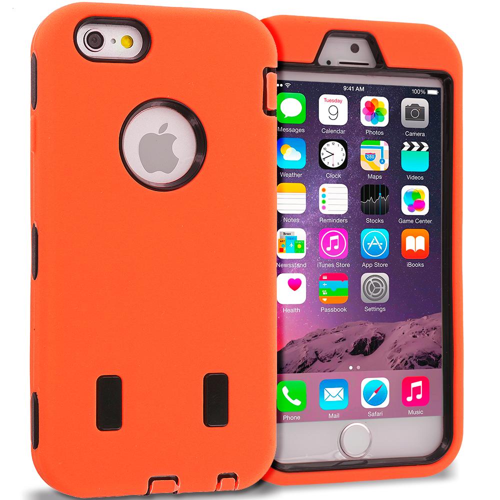 Apple iPhone 6 Plus 6S Plus (5.5) Orange / Black Hybrid Deluxe Hard/Soft Case Cover