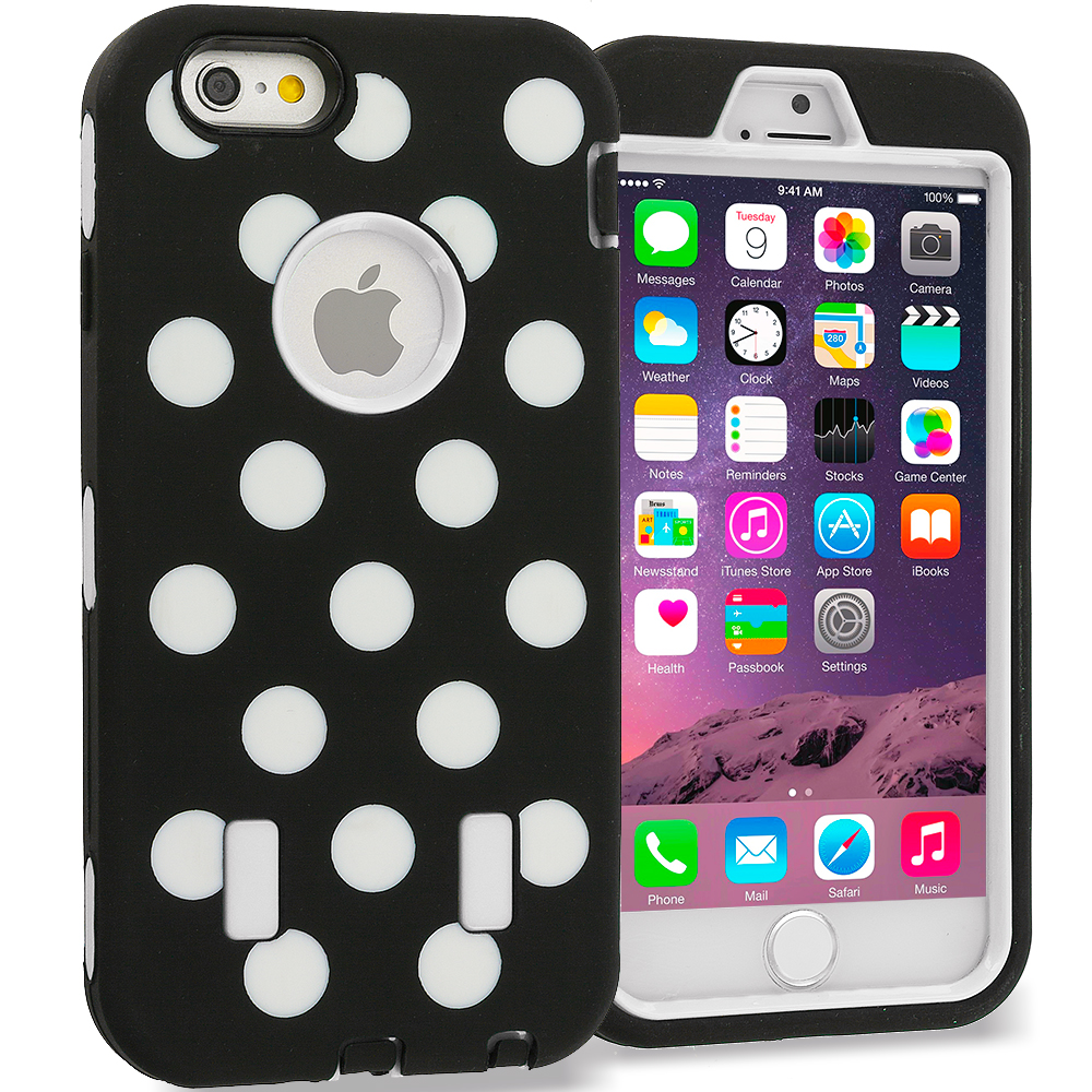 Apple iPhone 6 6S (4.7) Polka Dot White Hybrid Deluxe Hard/Soft Case Cover