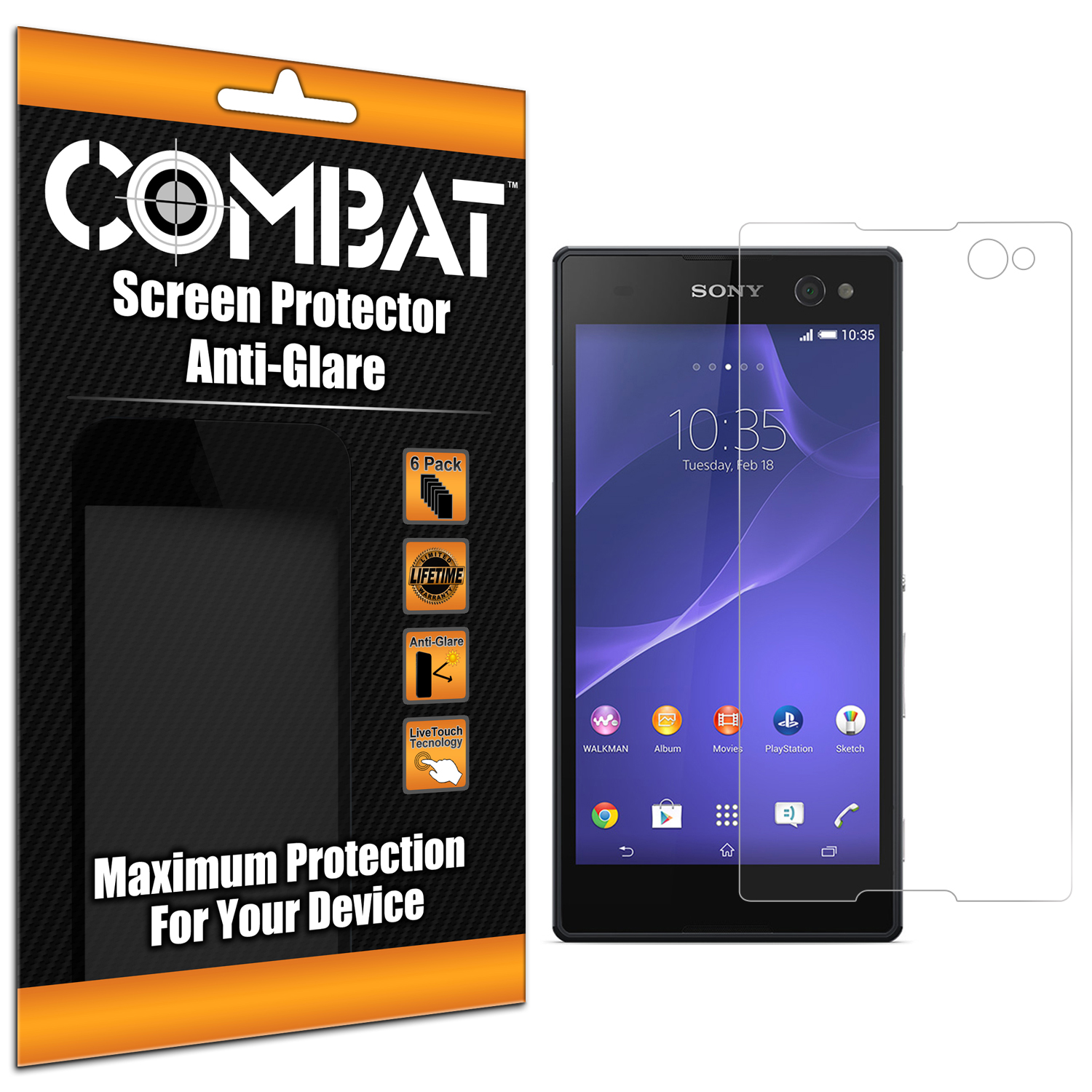 Sony Xperia C3 Combat 6 Pack Anti-Glare Matte Screen Protector