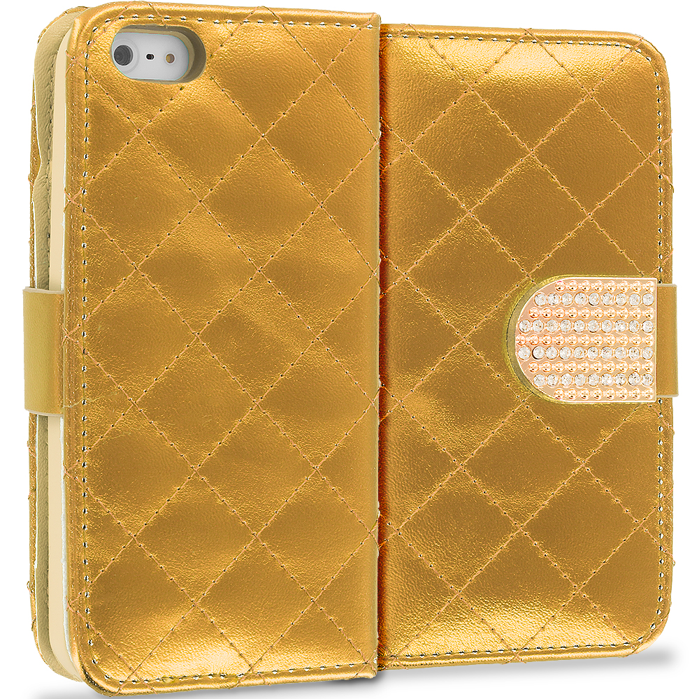 Apple iPhone 5/5S/SE Gold Luxury Wallet Diamond Design Case Cover With Slots