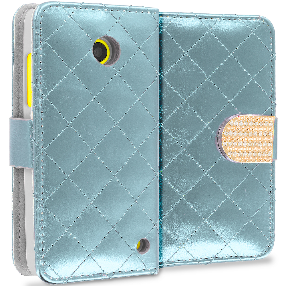 Nokia Lumia 530 White Luxury Wallet Diamond Design Case Cover With Slots
