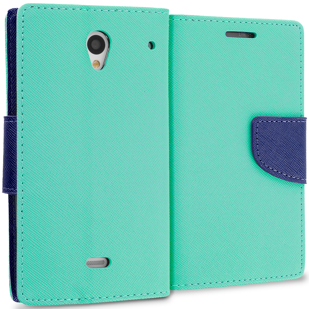 Sharp Aquos Crystal Mint Green / Navy Blue Leather Flip Wallet Pouch TPU Case Cover with ID Card Slots