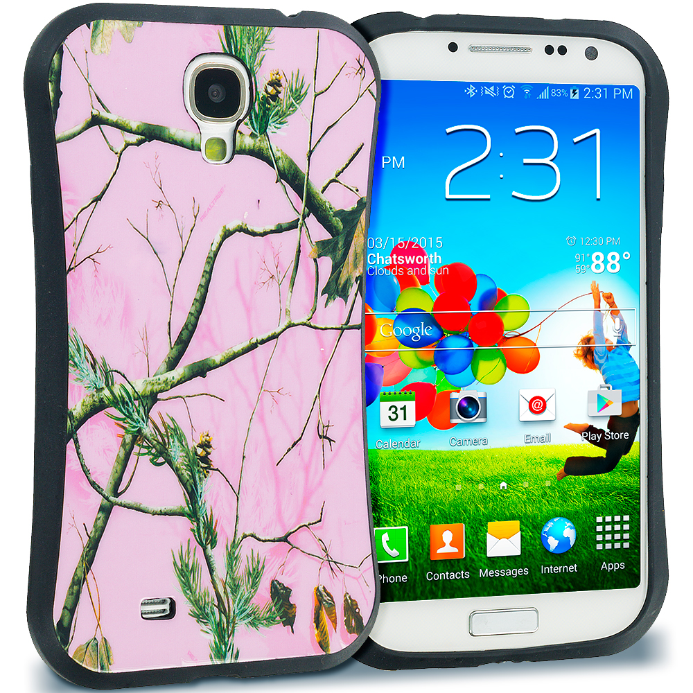 Samsung Galaxy S4 Hot Pink Tree Hybrid TPU Hard Soft Shockproof Drop Proof Case Cover